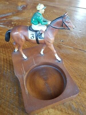 Vintage Cast Iron Racehorse Bay Thoroughbred Horse jockey 3 trophy or coin tray