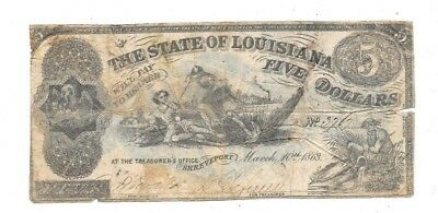 1863 $5 State Of Louisiana Shreveport Confederate Currency