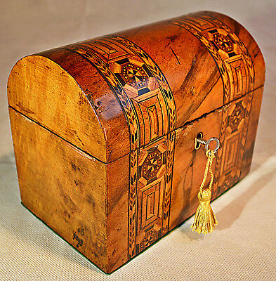 A mid-Victorian Walnut Tunbridgeware dome topped Tea Caddy with Key
