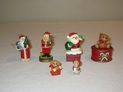 Hallmark Merry Miniatures Christmas Trinket Box  Santa Teddy Bear Lot of 8