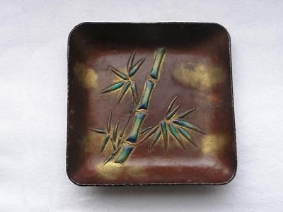 Antique Japanese cloisonne enamel plate with bamboo 1900-20 handpainted #3807C