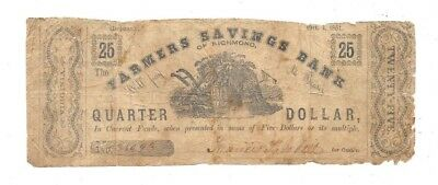 1861 25 Cents Farmers Savings Bank Of Richmond Virginia Obsolete Currency