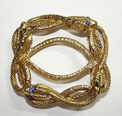 """Vintage/Antique Pin/Brooch 4 Entwined Brass Snakes with Jeweled Eyes 2"""""""