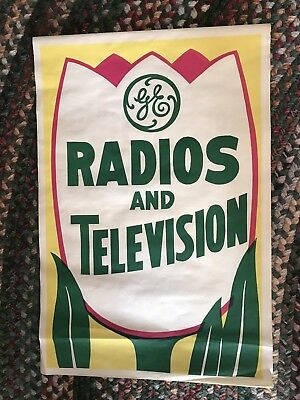 1950s -60's Vintage Large General Electric Window Poster