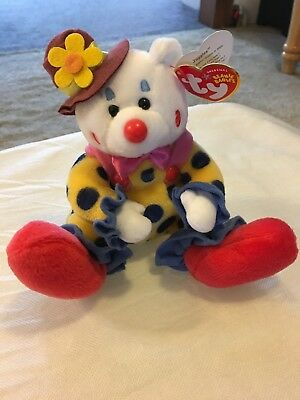 Ty Beanie Babies JUGGLES The Clown Bear Plush Stuffed Animal Retired 2004  MINT 8bbf13ee433b