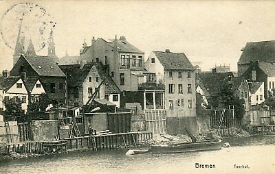 Germany AK Bremen 28199 - Teerhof 1909 Cover to Baltimore MD USA on postcard