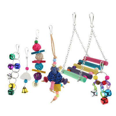 6x Parrot Toy Bird Swing Toys Cage Hanging Budgie Parrotlet Ladder Bell Ball