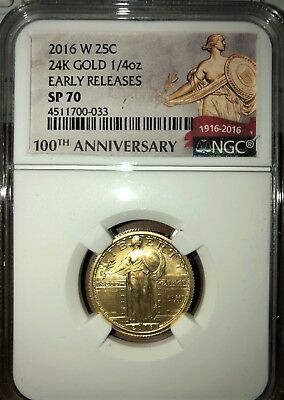 2016-W 1/4 oz Gold Standing Liberty Quarter NGC SP-70 Early Release
