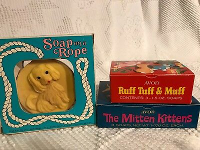 NOS Vintage Avon and Tom Fields Puppy & Kitty Soap