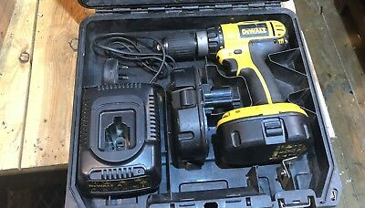 DeWalt DC725 Cordless Hammer Drill with 2 x 18v batteries , charger and case