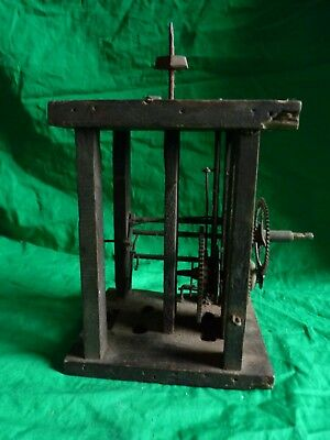 Antique F.H. wooden clock movement – stamped