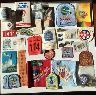 1989 Boy Scout National Jamboree Lot Patches Pins Stickers Neckerchief SOSSI '89