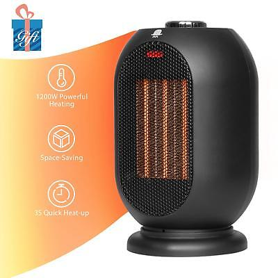 Small Space Heater for Office, Home 1200W/700W Electric 3s Quick Heating Black