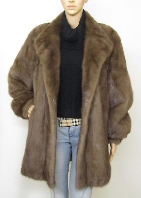 Real Mink Fur Wild Vtg Walnut Midbrown Oversized Jacket Coat 10-18Uk/xxl Visone
