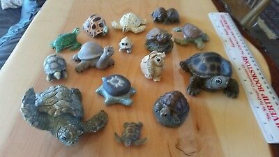 Vintage Lot Of Miniature Turtle Figurines Collection Ceramic, Resin, Shell-15pcs