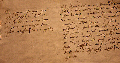 1520 Large manuscript handwritten medieval lord letter oncial writting RARE