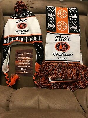 Tito's Handmade Vodka Long Knit Scarf & Cozy Cap with Braids - Fast US Shipping!