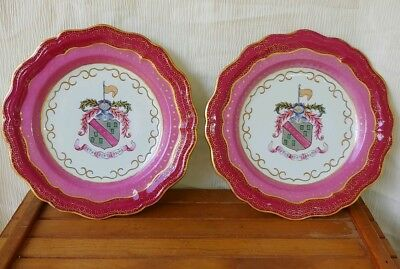 Pair of Antique 18th Century Chinese Export Porcelain Armorial Plates