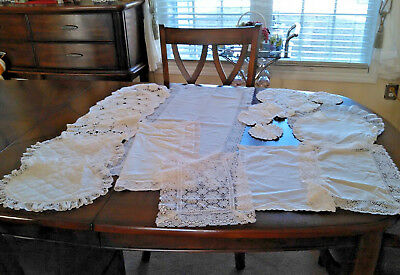 Lot of 31 Vintage Hand Embroidered Tablecloths,Scarves, Lace Doilies,Runners