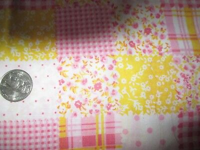 SUMMERY Vintage PINK YELLOW FLORAL PATCHWORK 1970's COTTON Fabric-shy 2 yd
