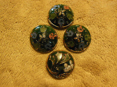 """Lot Of 4 Antique Vintage Green Glass Buttons W/ Floral Design 3/4"""" Beautiful!!"""