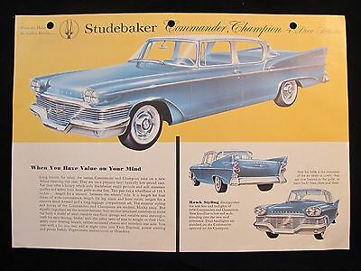 1958 Studebaker Original Data Spec Sheet  Commander  Champion 4-Door Sedans