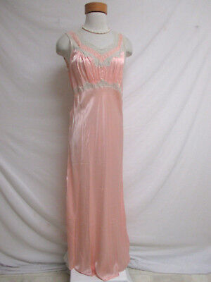 Vintage 40's 50's Satin Charmeuse Nightgown Lingerie