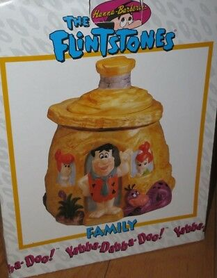 "Hanna Barbera ""THE FLINTSTONES"" Cookie Jar Fred, Wilma, Pebbles & Dino MIB (Q75)"