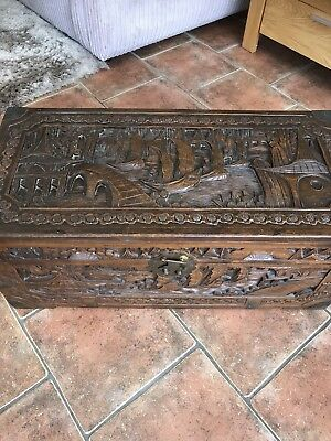 Deep Carved  Camphor Wood Oriental Chest / Trunk, Stunning Piece
