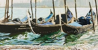 Venice, Impressionist Oil Painting by Prominent Artist, Joyce Rowsell, Gondolas