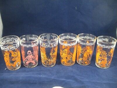 6 Vintage 1953 Welch's Jelly Jar/Glass Howdy Doody Clarabell Character Glasses