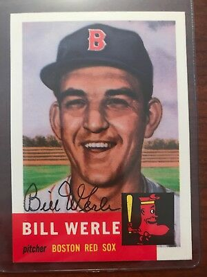 Bill Werle Signed 1953 Topps Archives 1991 Auto Boston Red Sox Pirates Cardin