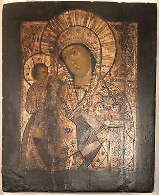 19th c Antique RUSSIAN ICON Mother of God Religious Orthodox Oil Painting Wood