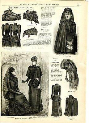 French MODE ILLUSTREE SEWING PATTERN  August 16 1891 - Mourning