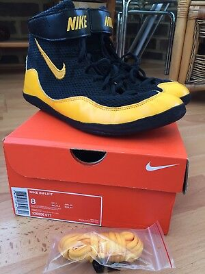Nike Inflict Boxing/Wrestling Boots, Black/Gold, UK7, Excellent Condition