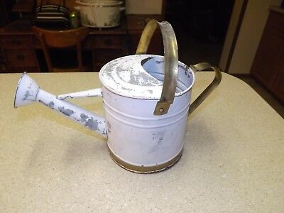 Vintage Galvanized Watering Can White Gold Shabby Chic Garden Planter Ornament