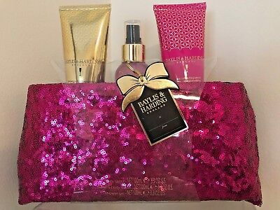 Baylis & Harding~PINK SEQUINED CLUTCH W/ 3 BODY CARE PRODUCTS~Brand New!!