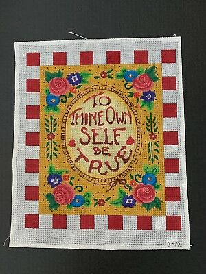 """Handpainted Needlepoint Canvas - Mary Engelbreit """"To Thine Own Self Be True"""""""