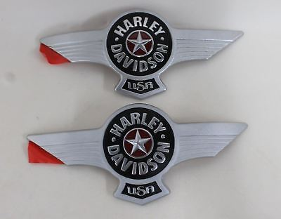 NEW HARLEY DAVIDSON Fatboy Fuel Tank Left & Right Metal Emblem Badge Set