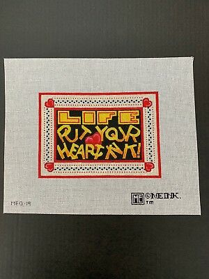 """Handpainted Needlepoint Canvas - Mary Engelbreit """"Life Put Your Heart In It"""""""
