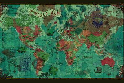 World Political Antique Style Map Poster 18x12 inch