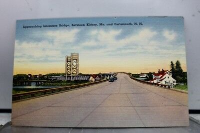 New Hampshire NH Portsmouth Maine ME Kittery Interstate Bridge Postcard Old View