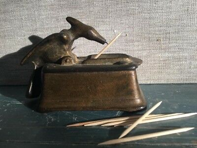 Antique Cast Iron Bird Woodpecker Toothpick Dispenser  Rare