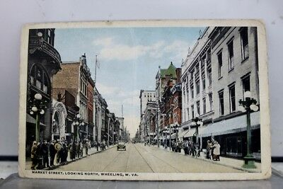 West Virginia WV Wheeling Market Street Postcard Old Vintage Card View Standard