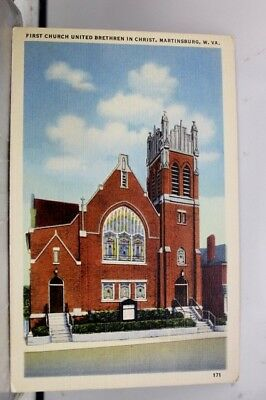 West Virginia WV Martinsburg First Church United Brethren Postcard Old Vintage