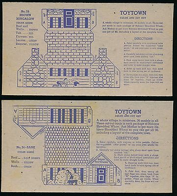 1946 F275-18A Nabisco Shredded Wheat TOY TOWN -Lot of 5 cards *Neat Cut-Out Set*