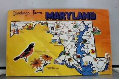 Maryland MD Map Greetings Postcard Old Vintage Card View Standard Souvenir Post