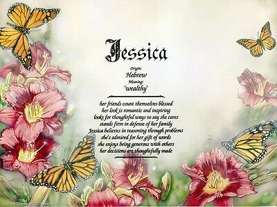 """""""Monarch"""" Name Meaning Print Personalized (Animals, Insects)"""