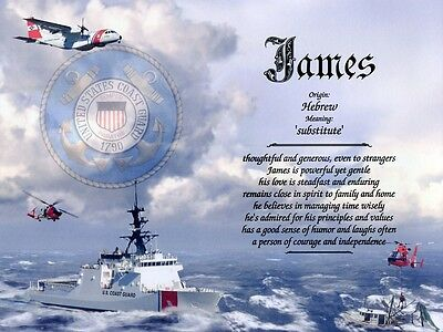 Coast Guard Themed Name Meaning Print Personalized (Military)