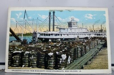 Louisiana LA New Orleans Mississippi River Steamboats Cotton Postcard Old View